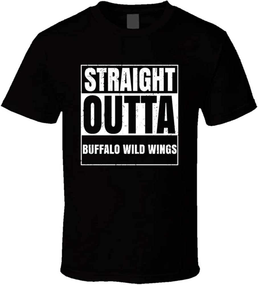 Straight Outta Buffalo Wild Wings Restaurant Fast Food Chain Eatery Compton Parody Shirts