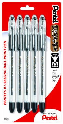 (Pentel R.S.V.P. Ballpoint Pen, Medium Line, Black Ink, 5 Pack  (BK91BP5A))