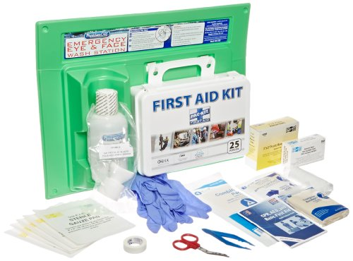 PhysiciansCare by First Aid Only 25 Person/160 Piece First Aid Kit and 16 oz Eye Wash Station, (Osha Compliant Bottle)
