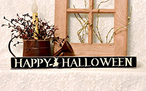 Happy Halloween - 20 inch Primitive Shelf Sitter Sign, Black Background with Cream Lettering