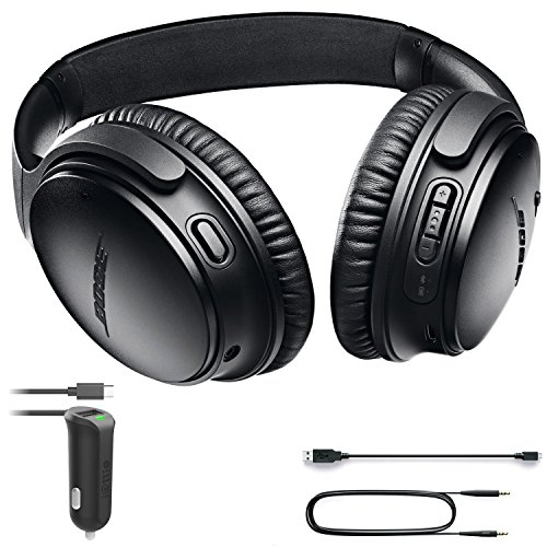 Bose QuietComfort 35 (Series II) Bluetooth Wireless Noise Cancelling Headphones - Black & Car Charger - Bundle by Bose