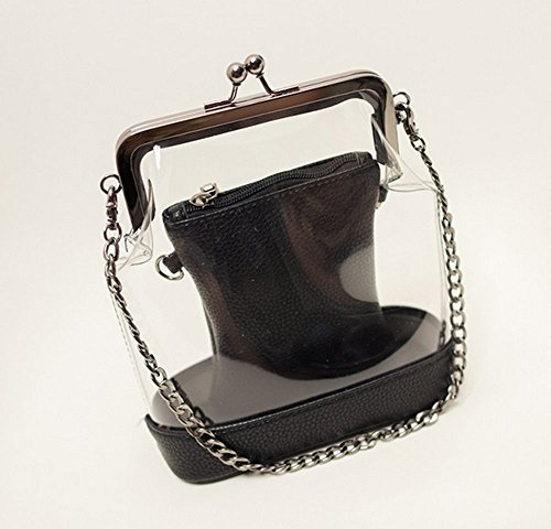 Bag Six Clip Handbags Mother Rrock Jelly Fashion Transparent Chain Black Colors w1txtqfX8