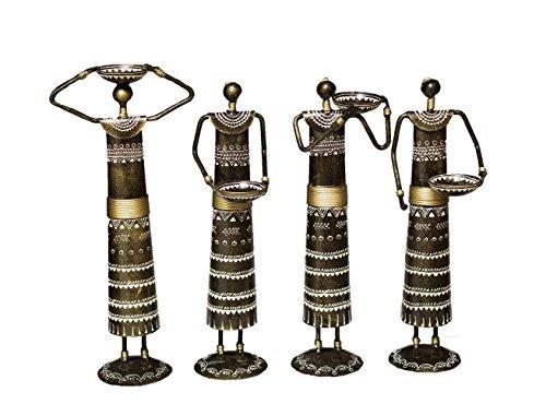 Crafticia Craft Traditional Rajasthani Handicraft Metal Tribal Tealight Holder Doll Decorative Showpiece Item Set 9.5 cm X 9 cm X 31 cm Set Of 4 9.5 cm x 9 cm x 31 cm (Roman Godess)
