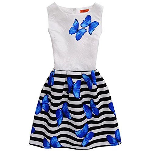 Kids Showtime Girls Butterfly Stripe Print Princess Dress Formal Party Dress(Blue-2,11-12Y)