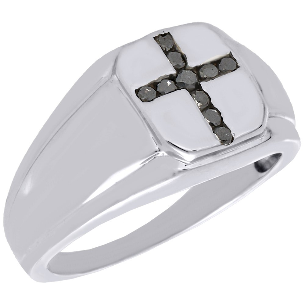 .925 Sterling Silver Round Cut Black Diamond Square Cross Mens Pinky Ring 0.25 Cttw Jewelry For Less ATL SRWWZ1890/W