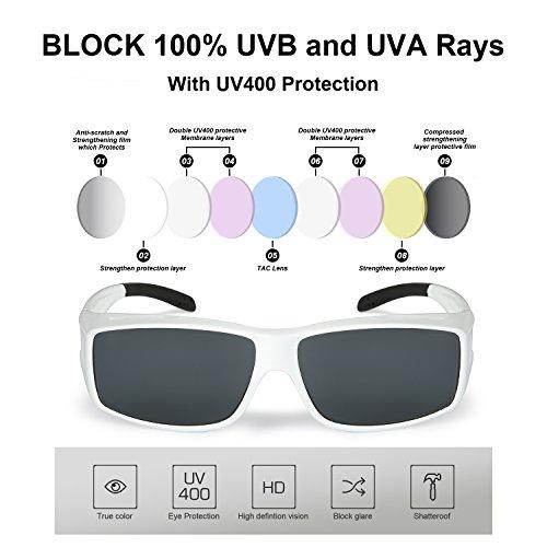 avec protection et Femmes anti Comme Surlunettes Sur Gris de UVB solaires conduit 100 Surlunettes Polarisées de UVA Soleil Lunettes Hommes et clips Blanc 0wtqA8t