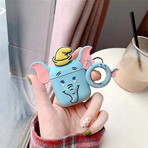 Wcysin AirPods Case, 3D Cartoon Design Lovely Shockproof Silicone Soft Skin for Apple Airpods Girls and Women (Blue)