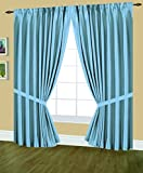 Cheap Editex Home Textiles Elaine Lined Pinch Pleated Window Curtain, 144 by 63-Inch, Light Blue