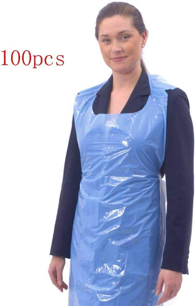 MZY1188 Delantales Desechables Azul Blanco, Delantales Desechables Delantales Impermeables de Polietileno para cocinar, Hornear y Usar en el Cuidado Personal