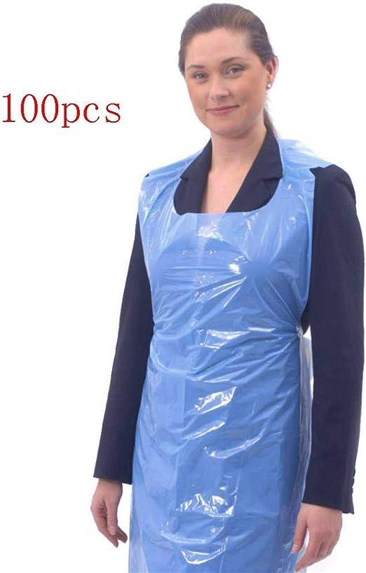 MZY1188 Delantales Desechables Azul Blanco Delantales Desechables Delantales Impermeables de Polietileno para cocinar Hornear y Usar en el Cuidado Personal