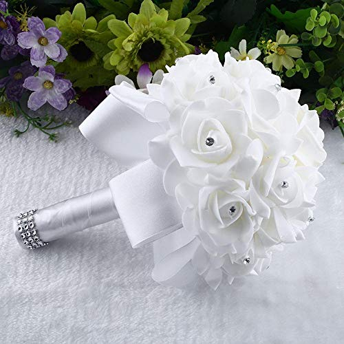 Bouquets Bride - 16 Pcs Beauty Weeding Fllower Bouquet Package Bridal Decora - Bridesmade Beautiful Bride Bouquets Bridesmaids Artificial Dried Flowers Accessory Weed Dress Flowergirl Fake P]()