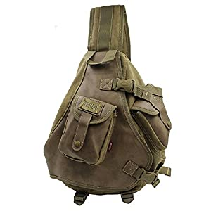 Lanica One Strap Sling Cross Body Shoulder Backpack Travel Rucksack (Khaki)