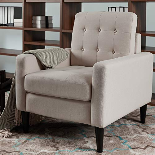 LOKATSE HOME Mid-Century Modern Recliner Accent Fabric Arm Chair Comfy Upholstered Single Sofa for Living Room Furniture, Beige