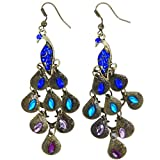 SODIAL(R) Retro Blue Rhinestone Peacock-Pattern Teardrop Tail Dangle Earrings