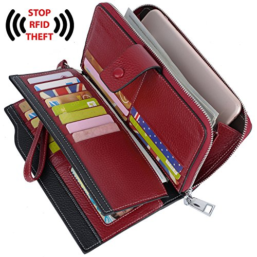 Blocking Security Large Capacity Leather Wristlet Clutch Wallet Red ()