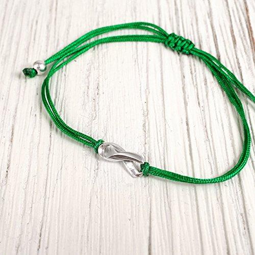Green, Small Sterling Silver 925 Ribbon Shaped Charm Bracelet, Liver Cancer Awareness, Friendship Support Bracelet, Adjustable Thread Cord, Handmade in - Peoples Liver