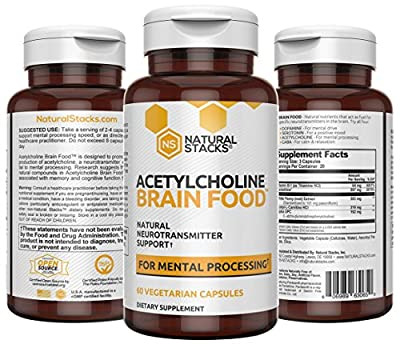 Natural Stacks: Acetylcholine Brain Food - Natural Brain Supplement - 30 Day Supply - Boosts Cognitive Function - Provides Better Mental Clarity - Helps Cut Through Brain Fog