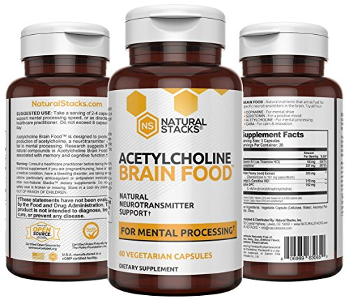 Natural Brain Supplement - Natural Stacks: Acetylcholine Brain Food - 30 Day Supply - Boosts Cognitive Function, Provides Better Mental Clarity, Helps Cut Through Brain Fog