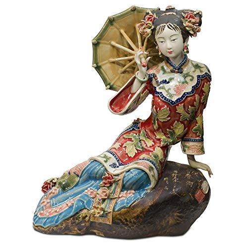 ChinaFurnitureOnline Chinese Porcelain Doll, Relaxing Qing Maiden with Umbrella Red