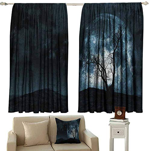 DUCKIL Room Darkening Wide Curtains Fantasy Night Moon Sky with Tree Silhouette Gothic Halloween Colors Scary Artsy Background Noise Reducing Curtain W63 xL72 Slate Blue -