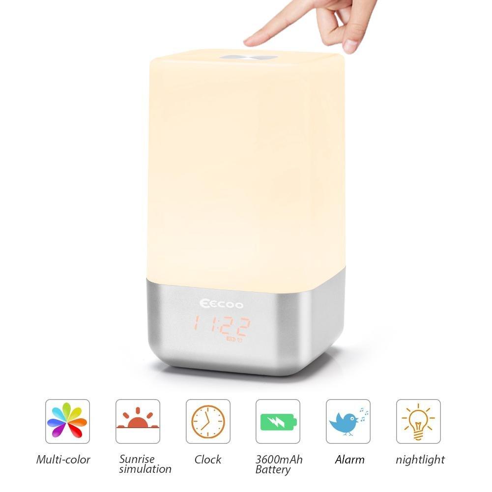 Wake up Licht, Lichtwecker Sonnenaufgangfunktion, 5 natürlicher Klang LED Nachtlicht mit Batterie USB, touch control Tischlampen für Kinder Erwachsene eecoo