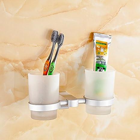 SDKKY Espacio Aluminio Doble Copa Cepillo Taza Soporte para Vaso para cepillos de Dientes Enjuague Taza Copa de Vidrio Pasta de Dientes Accesorio de Kit de ...