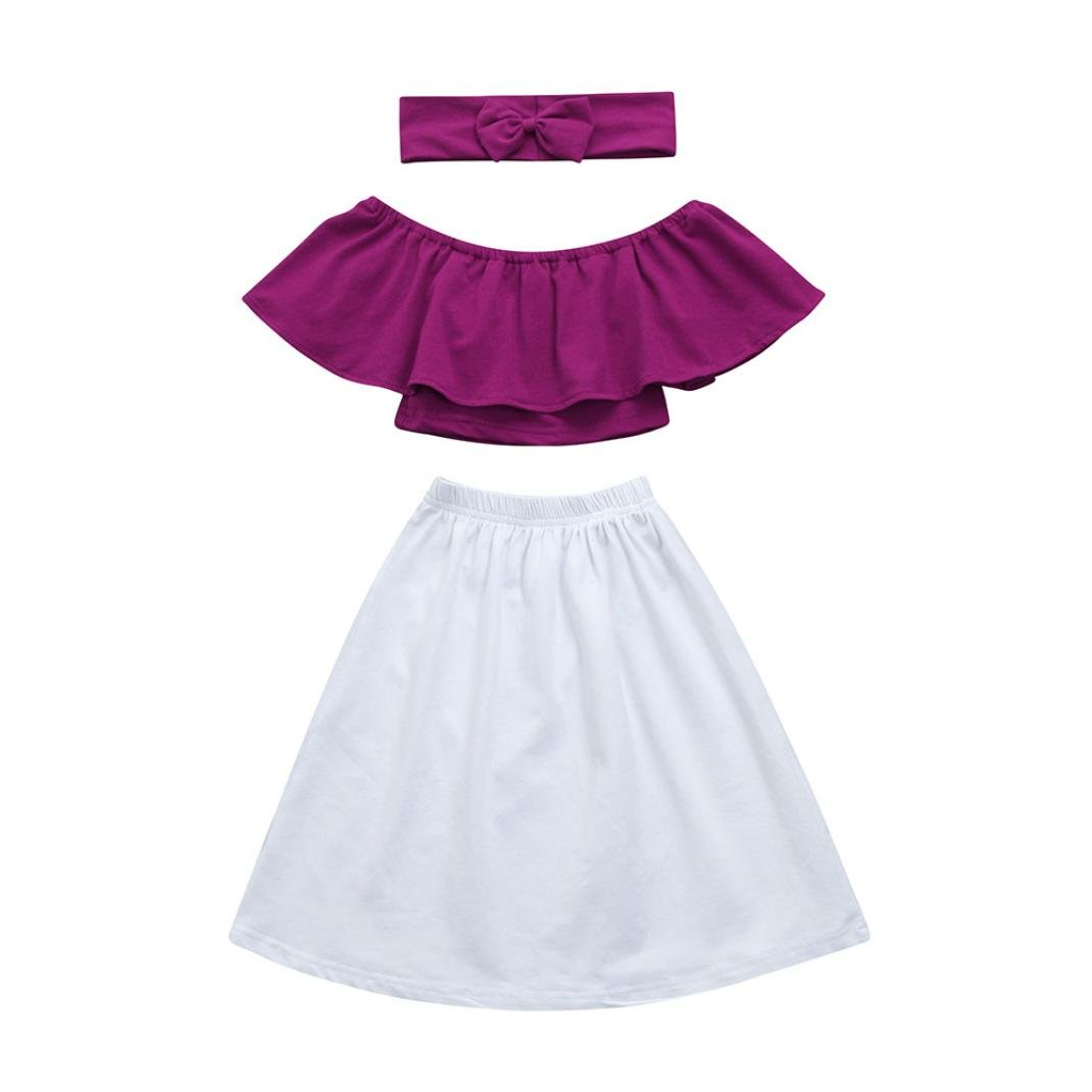 Freshzone Toddler Baby Girls Off Shoulder Tops+Long Skirt Headband Outfits