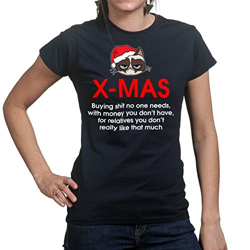 Grumpy Christmas Cat Xmas Gifts Funny T shirt BLK Medium