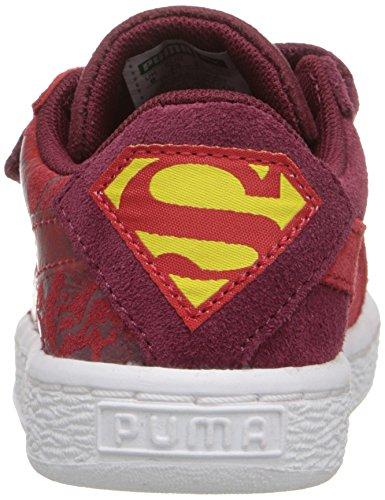 Puma Suede Superman 2 V Kids Sneaker (Toddler/Little Kid/Big Kid) Cordovan/High Risk Formula