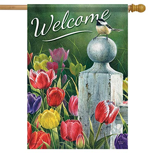 Carson Home Accents Trends Classic Large Flag, Welcome Picket Fence Bouquet