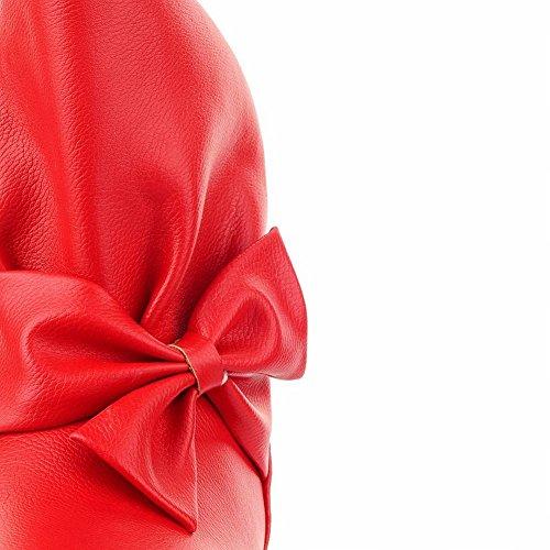 Carolbar Kvinna Söt Mode Söta Rosetter Charm Vackra Låg Häl Kort Klänning Stövlar Rött