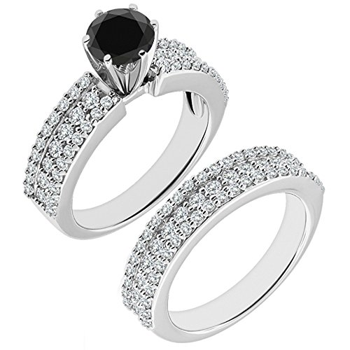 2.38 Ct Marquise Diamond (2.38 Carat Black AAA Diamond Engagement Wedding Anniversary Halo Bridal Ring Set 14K White Gold)