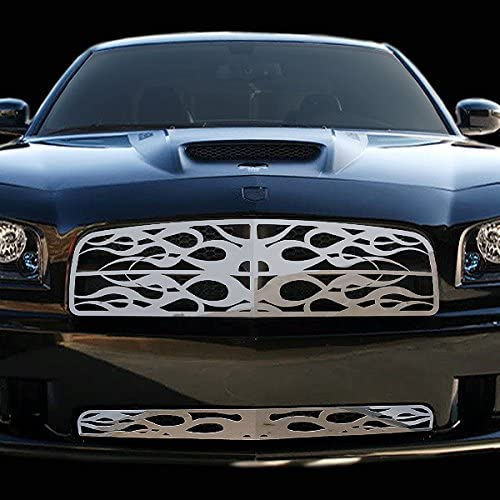 Ferreus Industries Grille Insert Guard Horizontal Flame Polished Stainless fits 2006-2009 Dodge Charger TRK-110-05-Chrome-a