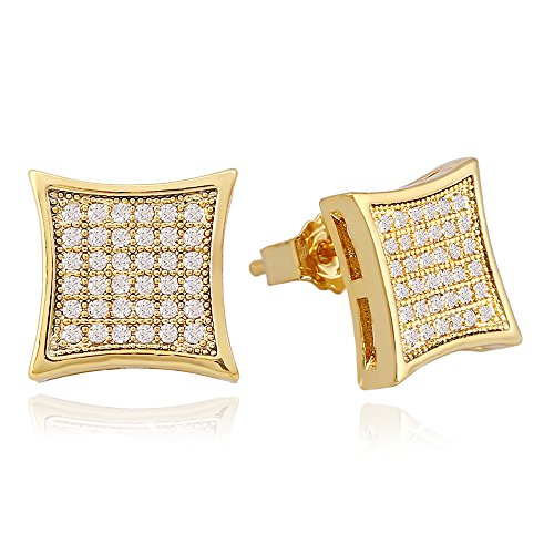 Lureen Gold 11mm Square Pave Full CZ Stud Earring of Mens Womens (Gold)