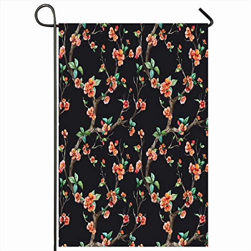 - Ahawoso Outdoor Garden Flag 12x18 Inches Pink Spring Watercolor Floral Pattern Cherry Flowering Retro Trees Nature Red Ditsy Romantic Apple Seasonal Double Sided Home Decorative House Yard Sign