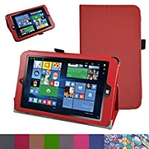"Insignia NS-P08W7100 Case,Mama Mouth PU Leather Folio 2-folding Stand Cover with Stylus Holder for 8"" Insignia Flex NS-P08W7100 Windows 10 Tablet 2016,Red"