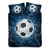 UNICEU 3 Pieces Bedding Set Quilt Coverlet Sport Football Soccer Ball on Water Splashing Thunder Lightning Abstract Duvet Cover with Pillowcase (Twin, Black)