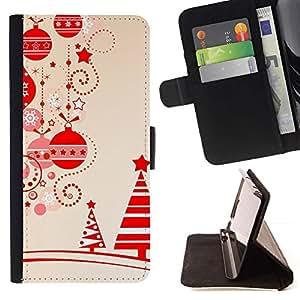 ForSamsung Galaxy S3 MINI i8190 (NOT S3) Case , Beige de Navidad Invierno Feliz Árbol- la tarjeta de Crédito Slots PU Funda de cuero Monedero caso cubierta de piel