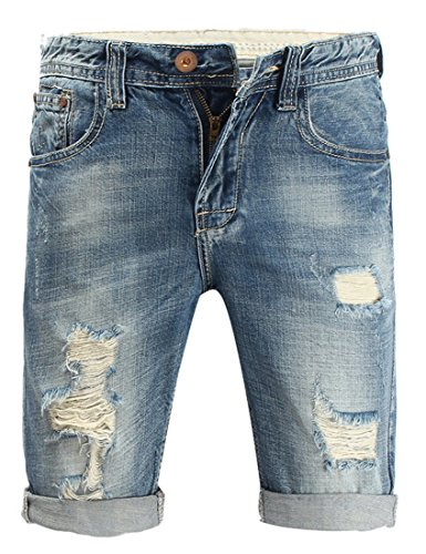 Men's Blue Summer Classic Straight Destroyed Jeans Worn Hole Brush Denim Shorts 38 (The Coolest Shoes In The World For Sale)