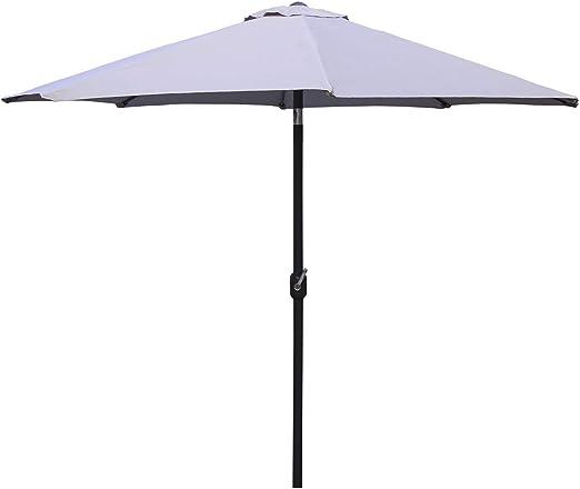 Parasol para jardín de Aluminio, Mástil Central, Redondo 300 cm, Salida de Viento, Tela gramaje 200 gr Color Gris Claro: Amazon.es: Jardín
