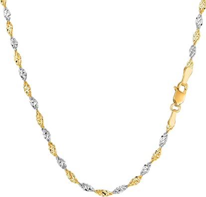 14k Yellow Gold 1.50mm Diamond Cut Rope Chain Necklace with Lobster Clasp