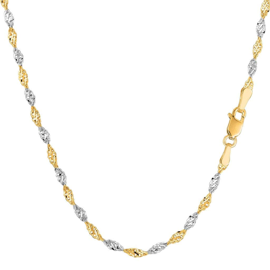 14K Two-Tone Yellow and White Gold 2.00mm Shiny Diamond-Cut Classic Singapore Chain Necklace for Pendants and Charms with Lobster-Claw Clasp (16'' 18'' or 20'' inch)