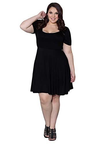 SWAK Designs Womens Plus Size Short Sleeve Scoop Neck Special Occasion Cocktail Arianna Dress