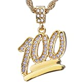 """Mens Hip Hop Iced Out Mini Emoji 100 Pendant 24"""" Rope Chain Necklace HC 1068 G"""