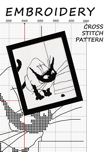 Halloween embroidery black cat silhouette cross stitch subversive Funny pattern monochrome wall decor minimalist cats art Black and white cross-stitch modern new home ornament Hand made gifts for men -