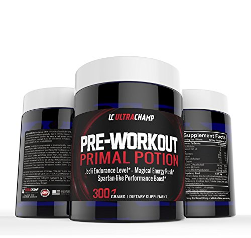 Pre-Workout Primal Potion From Ultrachamp - Premium Fat Burning Supplement For Men and Women - Get Spartan-Like Performance Boost With Our 300 Gram Energizer - No Side Effects