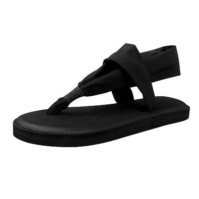 c0ad1c186970 Song Qing Ladies Yoga Sling Flip Flop Flat Yoga Slippers Flip-Flops Black