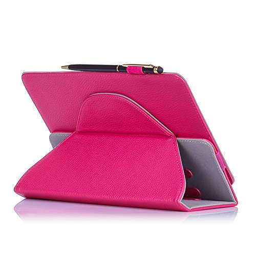 0 Rotating Stand Folio Case Cover for 7-8 inch Tablet Dragon Touch, Chromo Inc, ProntoTec, NeuTab, Nextbook, Tagital, Alldaymall, iRulu, RCA, iView Android Tablet (Pink, Magenta) ()