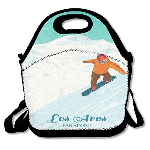 Les Arcs Vintage Ski Resort Paradiski French Alps Lunch Bag Custom Bento Box Picnic Cooler Bag Lunch Tote Bag For Women Men