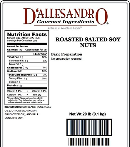 Salted Roasted Soynuts, 20 Lb Bag